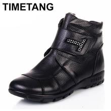 TIMETANGPlus Size (35-43) 2019 Winter Women Shoes Woman Genuine Leather Flat Ankle Boots Women Warm Snow BootsE1179