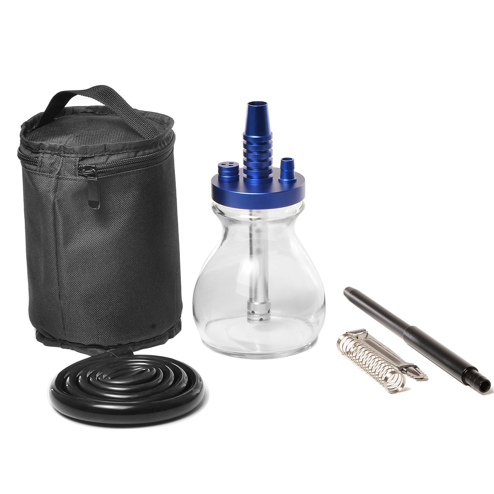 Mini Glass Bottle Hookah Small Travel Shisha Pipe Set Chicha with Hookah Bag Silicone Hose Spring Charcoal Tongs Accessories
