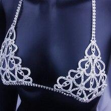 StoneFans bildirimi büyüleyici kalp Rhinestone göbek takısı sutyen kadınlar için parti vücut Bralette zincir kolye üst noel hediyesi