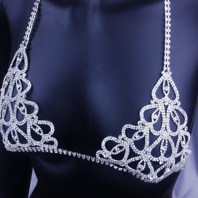 StoneFans بيان الساحرة القلب حجر الراين مجوهرات للجسم البرازيلي للنساء حزب الجسم Bralette سلسلة قلادة أعلى هدية الكريسماس