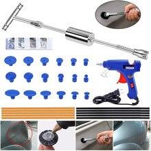 Paintless dent repair extrator kit-dent extrator slide martelo t-bar ferramenta com 16 pçs dent remoção puxando tabs para carro auto