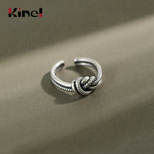 Kinel Women Ring Silver Sterling 925 Real Twist Vintage Style Minimalist Jewelry 925 Silver Korean Ladies Ring kinel popular 925 sterling silver ring minimalist style retro old thai silver woven open ring for women gifts korean jewelry