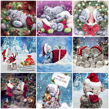 Huacan 5D Diamond Painting Christmas Bear Full Square Rhinestones Embroidery Sale Mosaic Stitch Home Decor Drop Ship