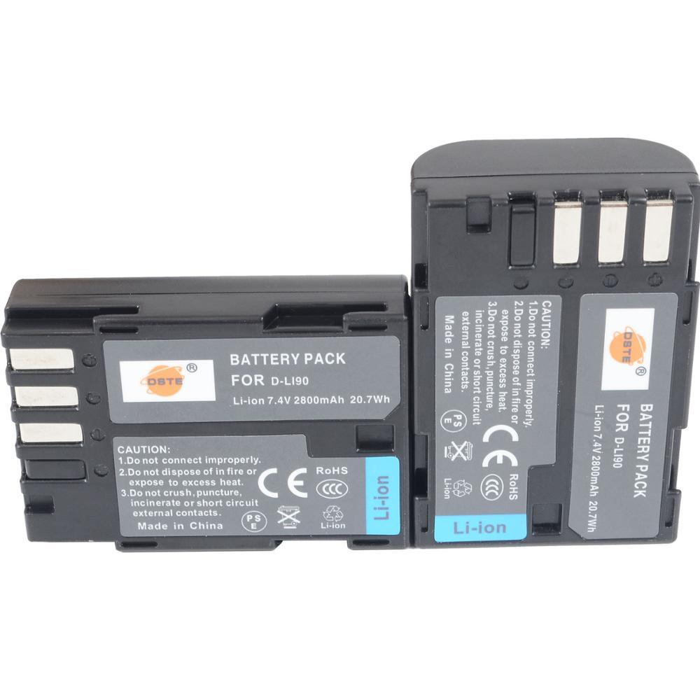 DSTE 2PCS D-LI90 Аккумулятор для Pentax d-li90 K-7 K-7D 645D K5IIS K5II K01 K3 камера