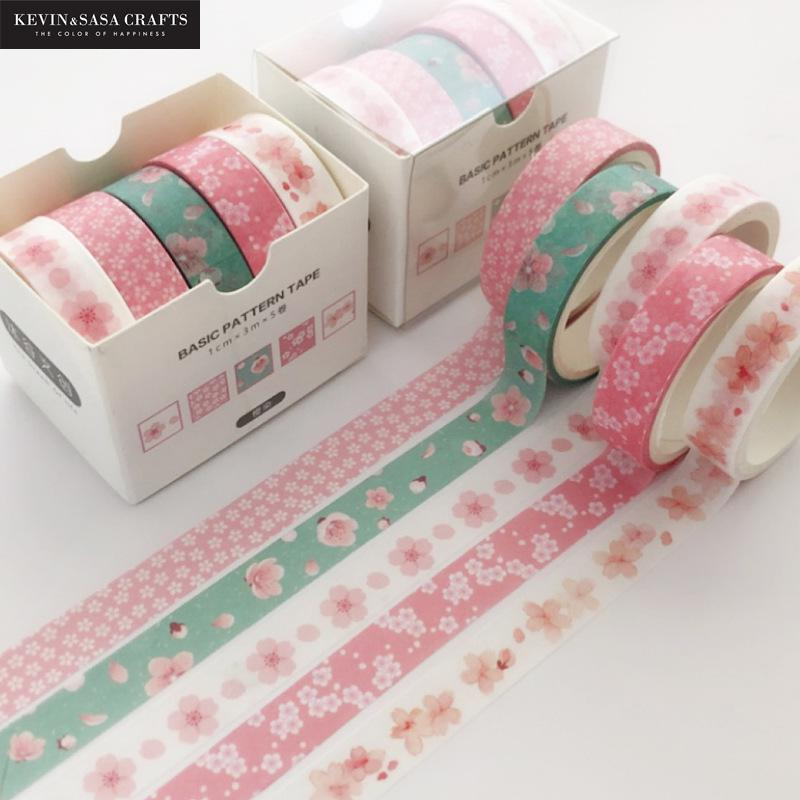 5pcs/set Printing Washi Tape Set Diy Masking Tape Cute Stickers School Suppliers Stationery Gift Presented By Kevin&Sasa Crafts 1
