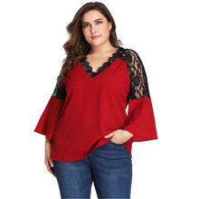 Plus Size Blouse Vrouwen Lace Hollow Out Patchwork V-hals Met Lange Mouwen Casual Tops Yeelow Dames Tuniek Blouse Tops Chemise(China)
