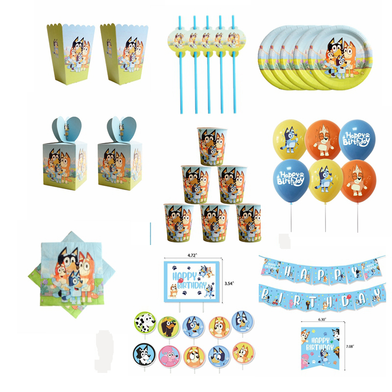 Puppy Bluey Theme Party Supplies Disposable Tableware Cup Plate Napkin Straw Balloon Happy Birthday Kid Favorite Decoration