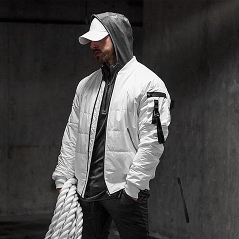 Men Warm Cotton-padded Clothes Muscle Fitness Trendy Casual Coat Winter Personality Pocket Sleeves Cotton-padded Jacket