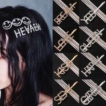Головной убор для девочек, женская шпилька, 30 стилей, жемчужные Детские аксессуары для волос, модный подарок, заколка с надписью «Diamond Love»