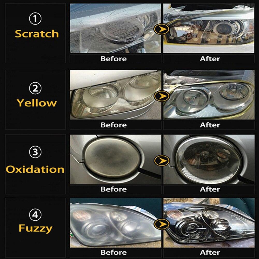 Tools : Visbella 2KIT LOT DIY Headlight Restoration Headlamp Brightener Kit for Car Headlamp Lenses Polish Paste Repair Hand Tool Sets