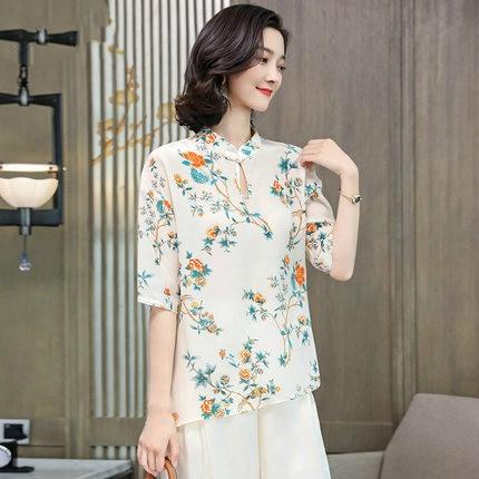 Blouses en soie florale dames bureau sexy décontracté blanc jaune fleur dessus de chemise 2019 été femmes grande taille livraison gratuite