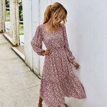 Винтажное осеннее платье с квадратным воротником и цветочным