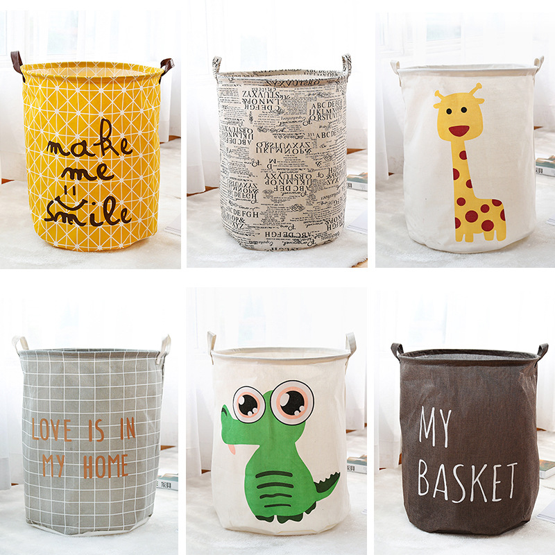 Small Household Fabric Laundry Basket Folding Toy Clothes Put Dirty Clothes Storage Bucket Laundry Basket