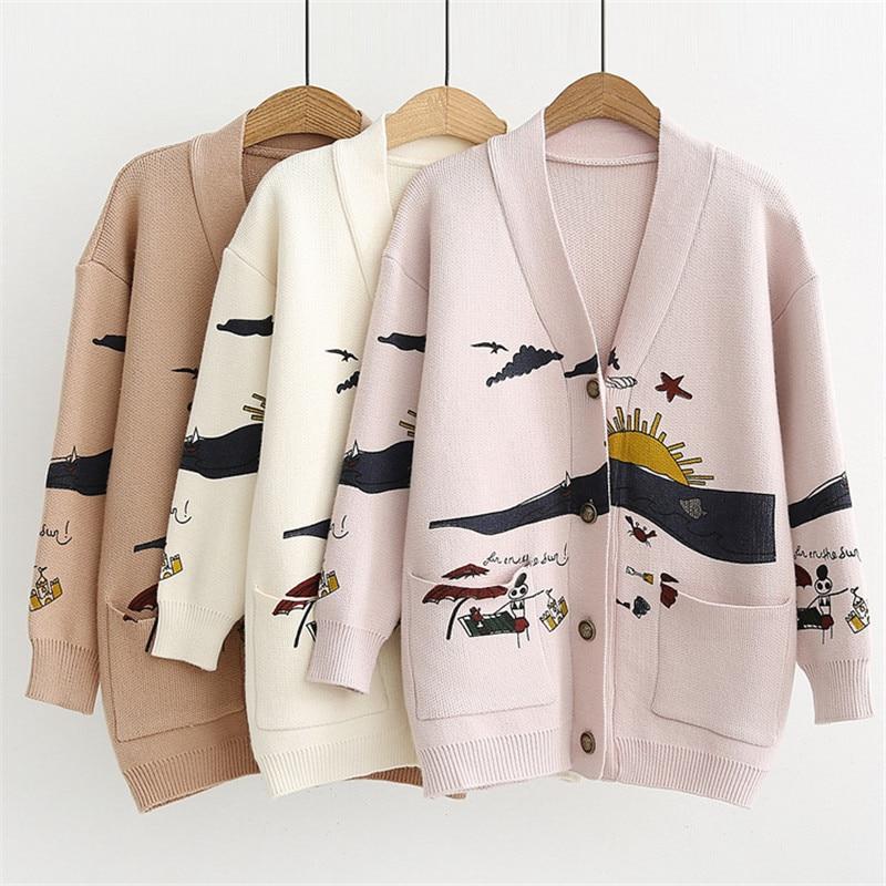 Cardigan Sweater Women's Autumn And Winter New Loose Cute Print Joker Long Sleeve Women's Knitted Jacket Sweaters Oversize 2020