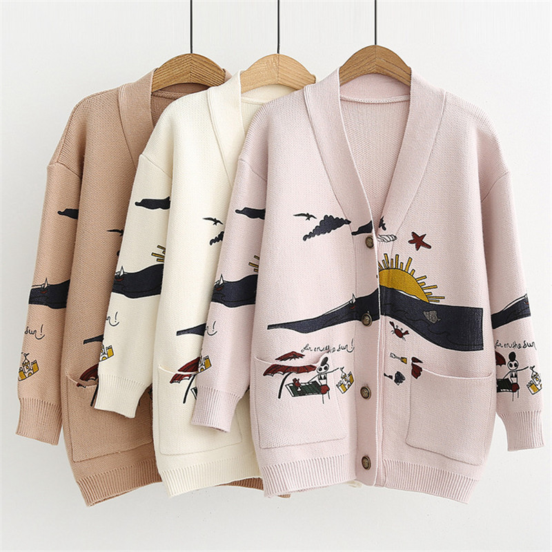 Cardigan Sweater Women's Autumn And Winter New Loose Cute Print Joker Long Sleeve Women's Knitted Jacket Sweaters Oversize 2021