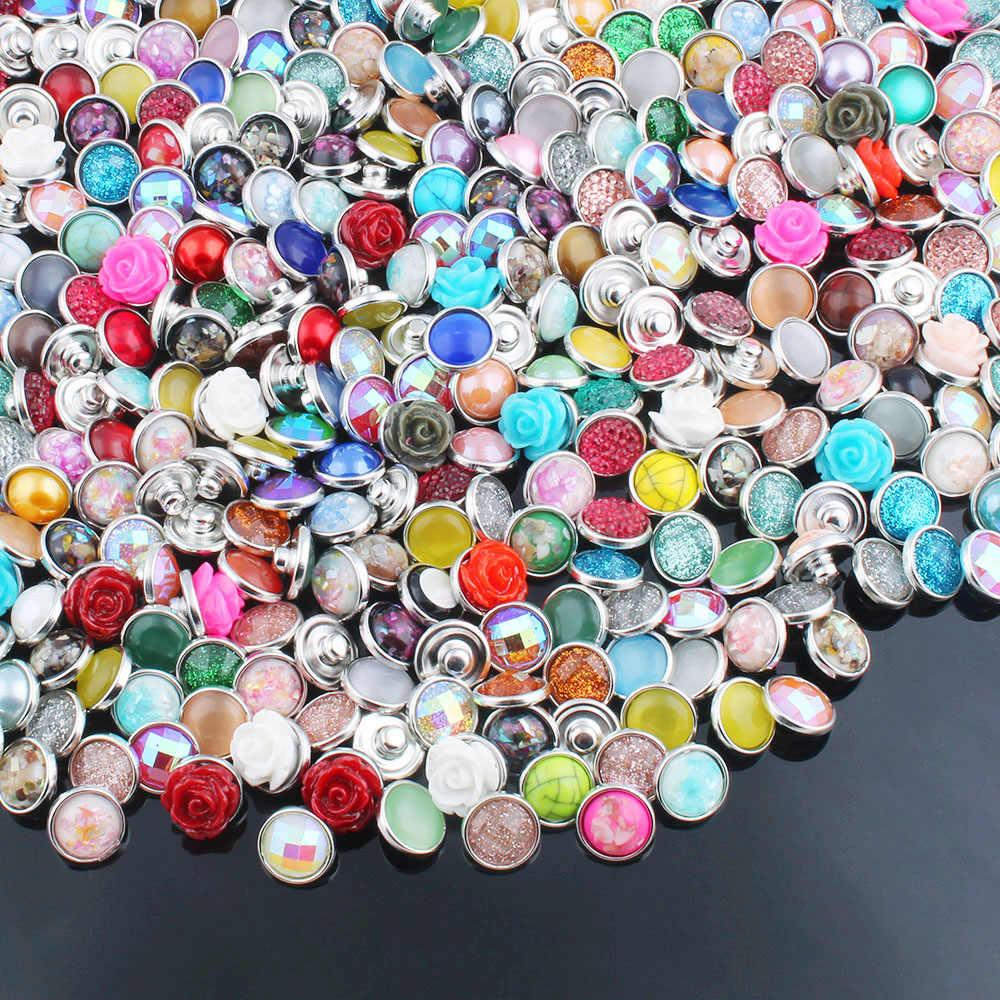 10 יח'\חבילה מעורב צבע 12MM אקראי שרף הצמד כפתור לנשים Fit 12mm הצמד צמיד צמיד עגילי שרשראות