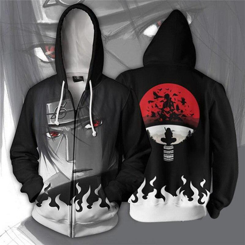 Anime Naruto Hoodie 4th 7th Hokage Uzumaki Naruto Uchiha Sasuke Hatake Kakashi Ootutuki Zipper print Hoodies Sweatshirt