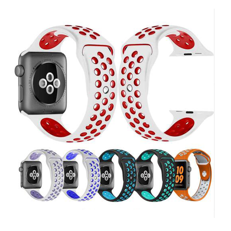 New Breathable Silicone Sports Band For Apple Watch 5 4 3 2 1 42MM 38MM Rubber Strap Bands For Nike+ Iwatch 4 3 40mm 44mm