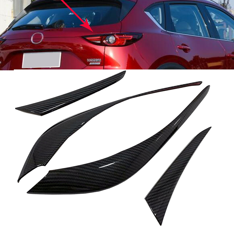 Carbon fiber look Rear Tail Light Lamp Cover Trim Strips Eyebrow Eyelid Decoration Protector For Mazda <font><b>Cx</b></font>-<font><b>5</b></font> Cx5 KF 2017 <font><b>2018</b></font> image