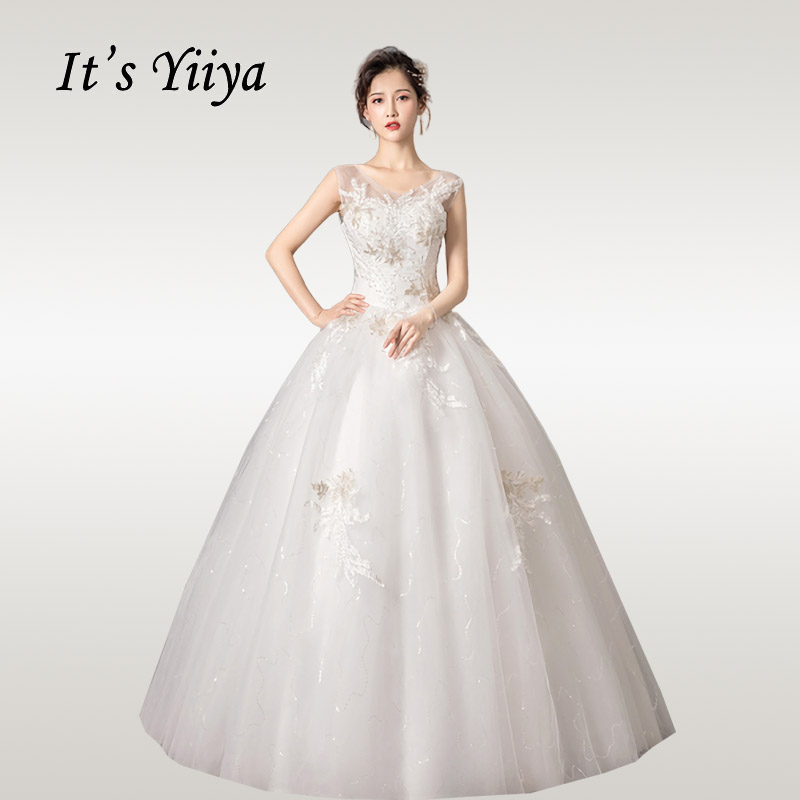 It's YiiYa Wedding Dresses Boho V-neck Sequins Crystal Wedding Dress Elegant Lace Sleeveless Long Vestido De Novia HS341