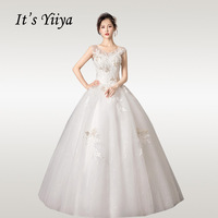 It's YiiYa Wedding Dresses Boho V neck Sequins Crystal Wedding Dress Elegant Lace Sleeveless Long Vestido De Novia HS341
