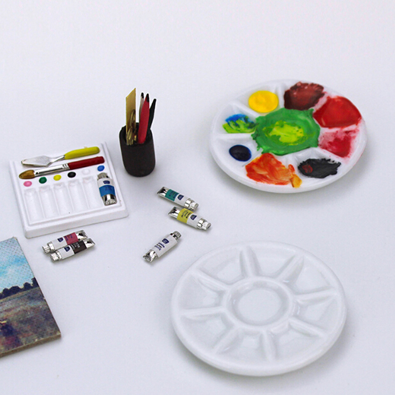 1Pc Dollhouse Miniature Accessories Mini Pigment Ceramic Disk Model Doll House Accessories Toys Baby Gift