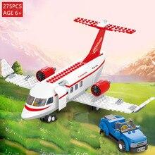 275Pcs City Plane Aviation Airport Airplane Building Blocks Sets DIY Figures Avion Technic Educational Toys For Children