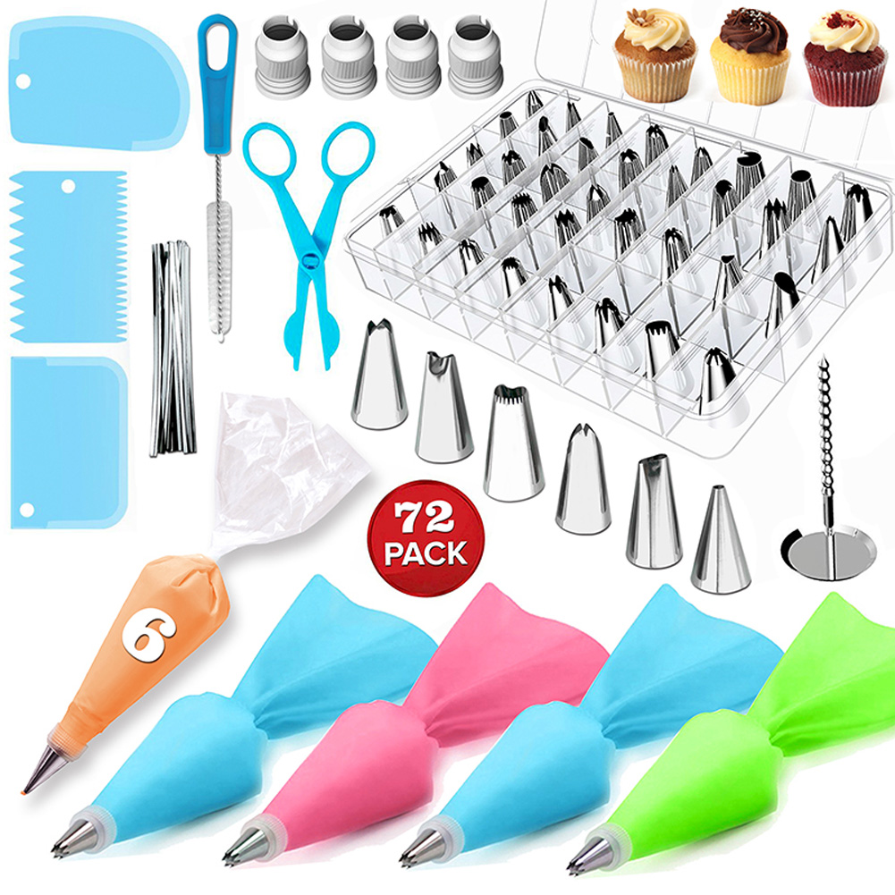 72 Pcs Kitchen Baking Set Cake Decorating Supplies Kit with Piping Nozzles Tips Pastry Bags Icing Smoother Spatula Couplers