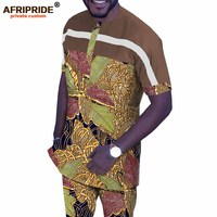 African Men Clothing Set Dashiki Tops Shirt and Print Pants Tracksuit Ankara Outfits Floral Attire Suit AFRIPRIDE A1916067B