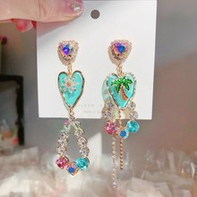 MENGJIQIAO-Pendientes colgantes de cristal con forma de corazón para mujer y niña, aretes asimétricos, árbol de flores, fiesta, vacaciones, joyería