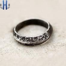 Original Handmade Silver Dark Personality Texture Ring 925 Simple Index Finger Men And Women