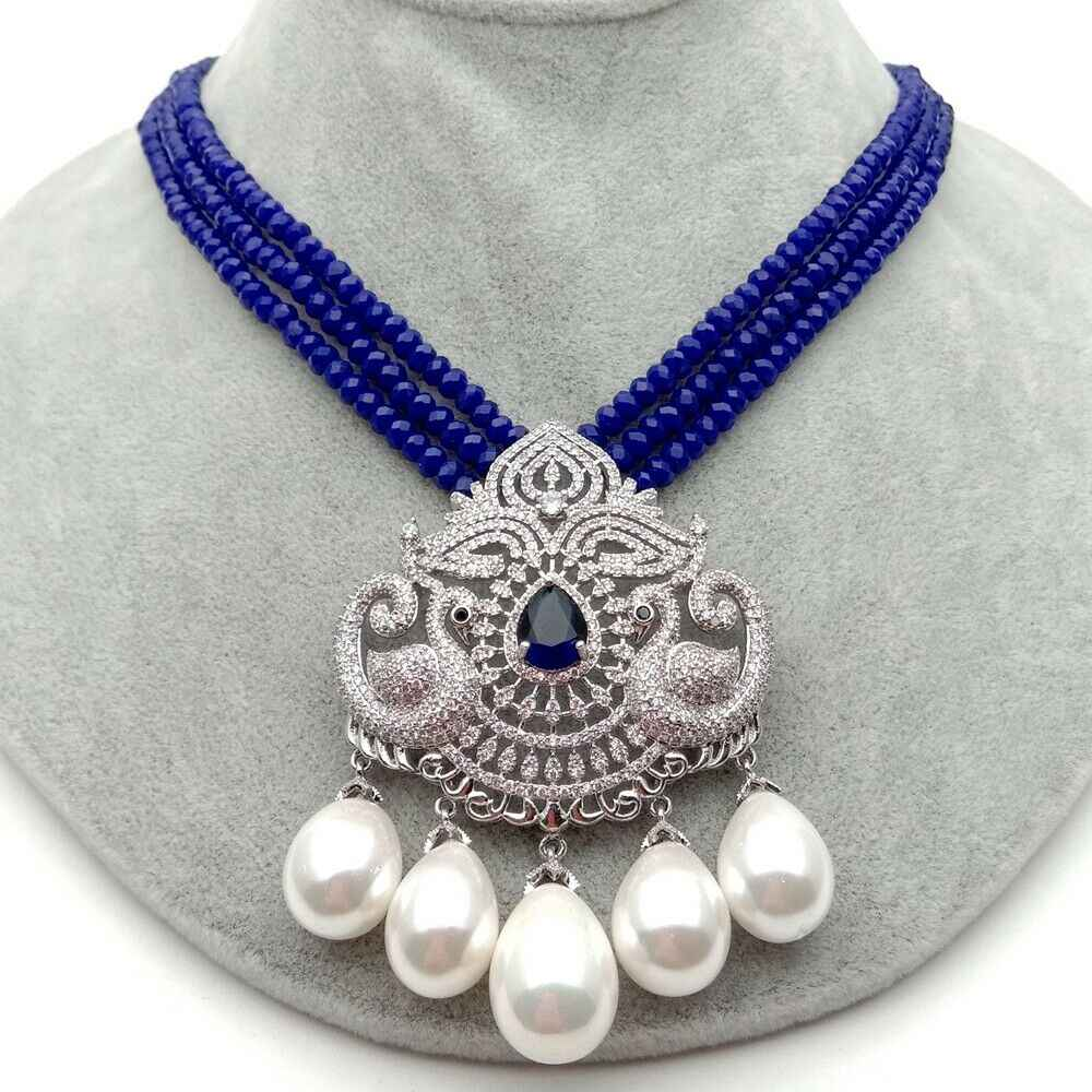 """19 """"3 ряда синий нефрит ожерелье Белое море жемчужина CZ кулон"""