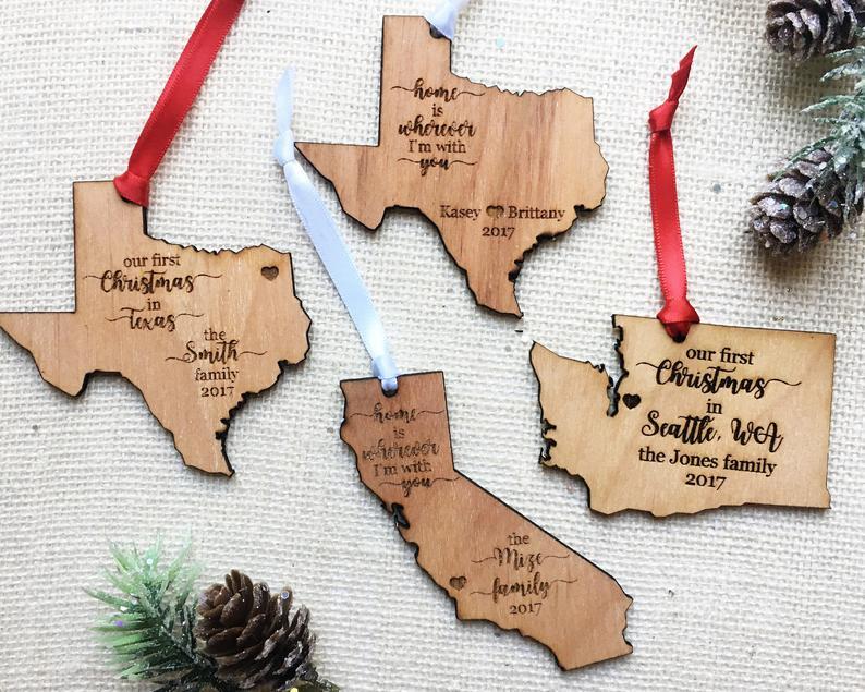 Adorno de Navidad de Estado personalizado-California-Texas-Navidad del estado de Washington-adorno personalizado-elige el texto- Conjunto de juguete Retro con luz eléctrica, adornos para tren con pista eléctrica de vía férrea, Conjunto Clásico de juguetes para niños, regalos de Navidad y Año Nuevo