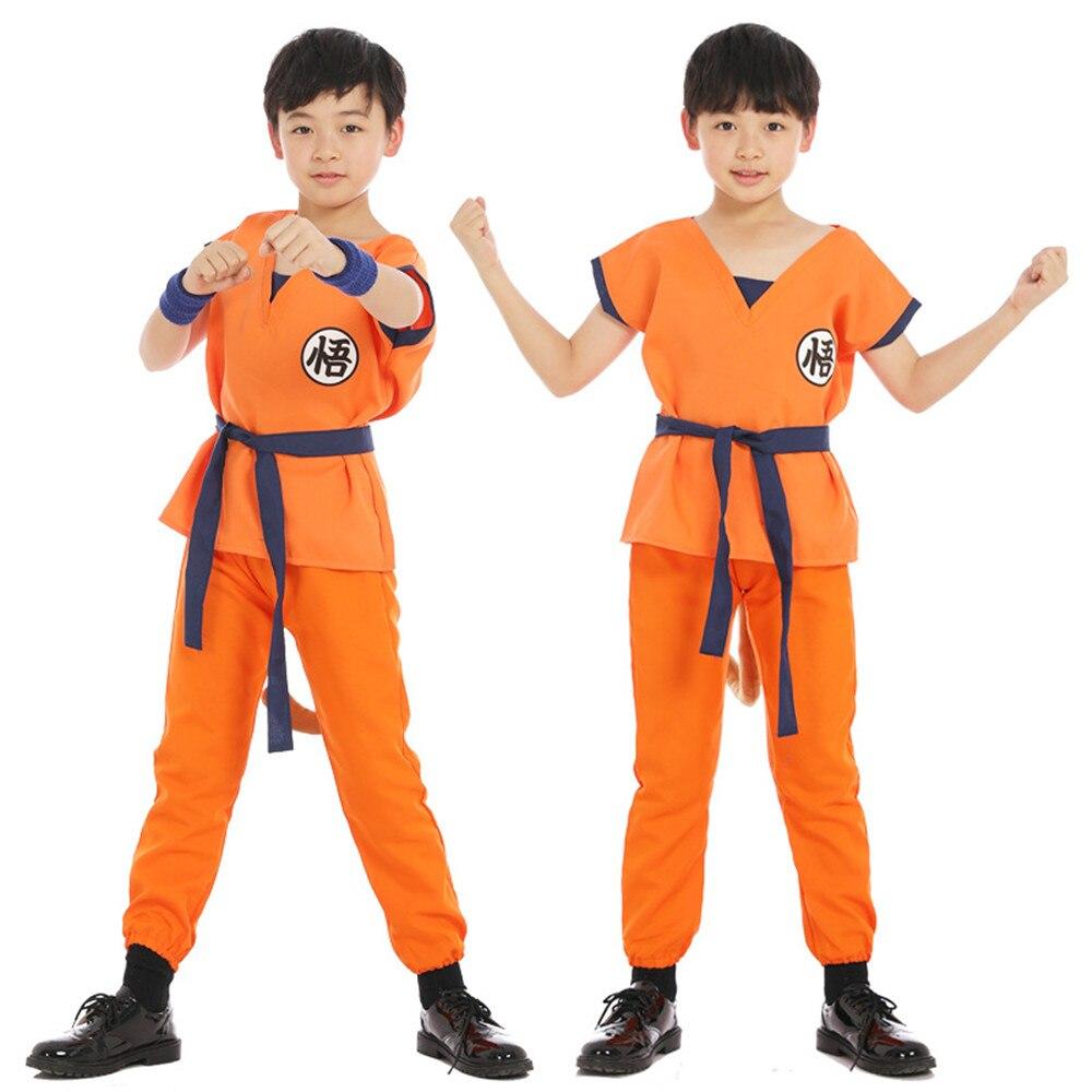 Dragon Ball Goku Cosplay Costume T-shirt Pants Vest Belt Wrist Guard Boot Covers