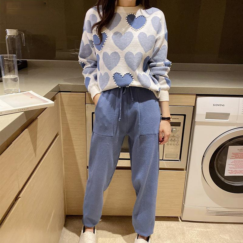 Fashion Love printed knitted two peice suit women long sleeve sweater tops and solid colors casual pants female korean suit