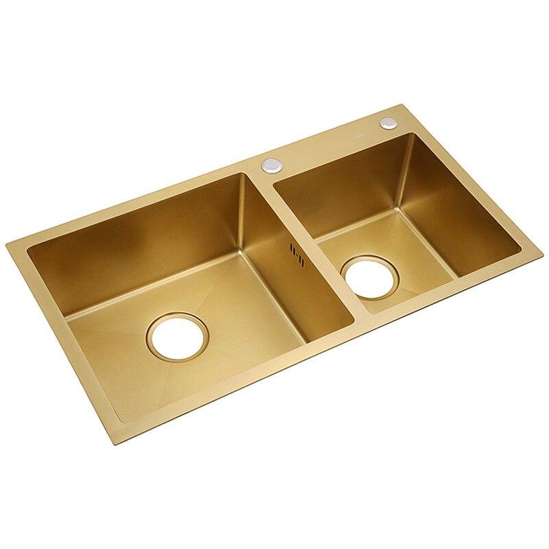 Escovado ouro 304 aço inoxidável pia da cozinha grosso 4mm bacia dupla com torneira acima do contador nano revestido pia com cesta de drenagem