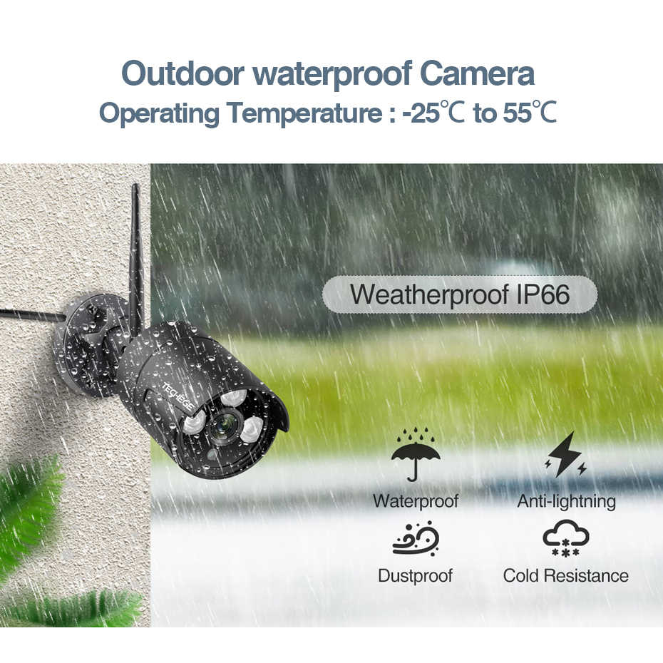 Techege 8CH 1080P bezprzewodowy monitoring H.265 2MP bezpieczeństwa zestaw do organizacji na świeżym powietrzu P2P wideo kamera monitorująca zestaw