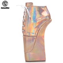 High-Heel Ballet-Shoes Platform-Style JIALUOWEI Lace-Up with Sexy Holographic Extreme