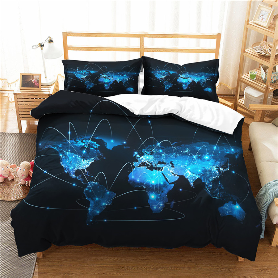 A Bedding Set 3D Printed Duvet Cover Bed Set World Map Home Textiles For Adults Bedclothes With Pillowcase #DT05