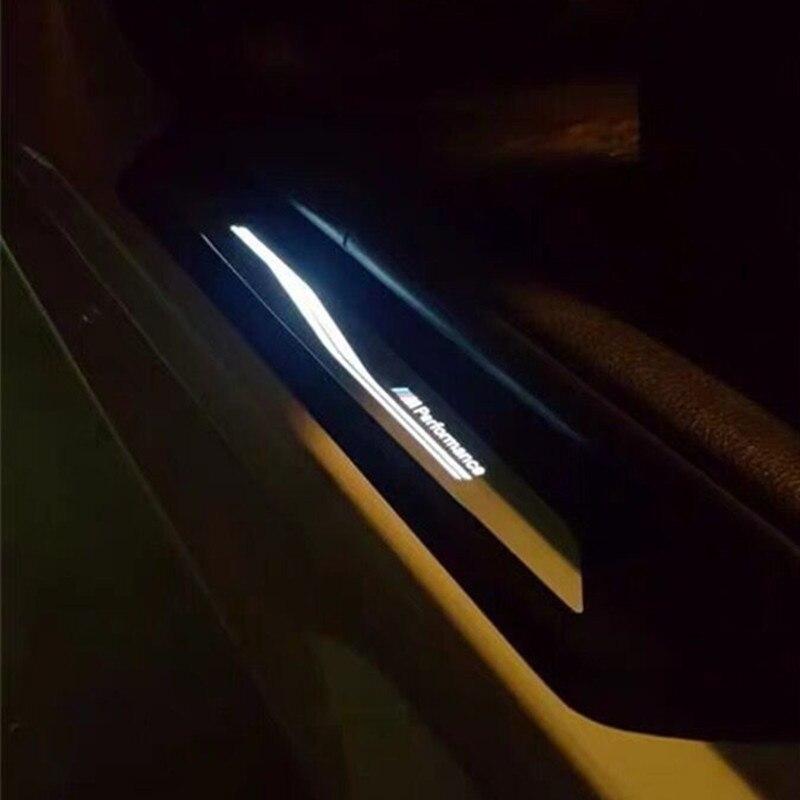 Um par de iluminação peitoril da porta para bmw 1 2 3 5 série x1 x3 x4 f30 f31 f34 f35 m desempenho porta passo carro pedal bem-vindo limiar