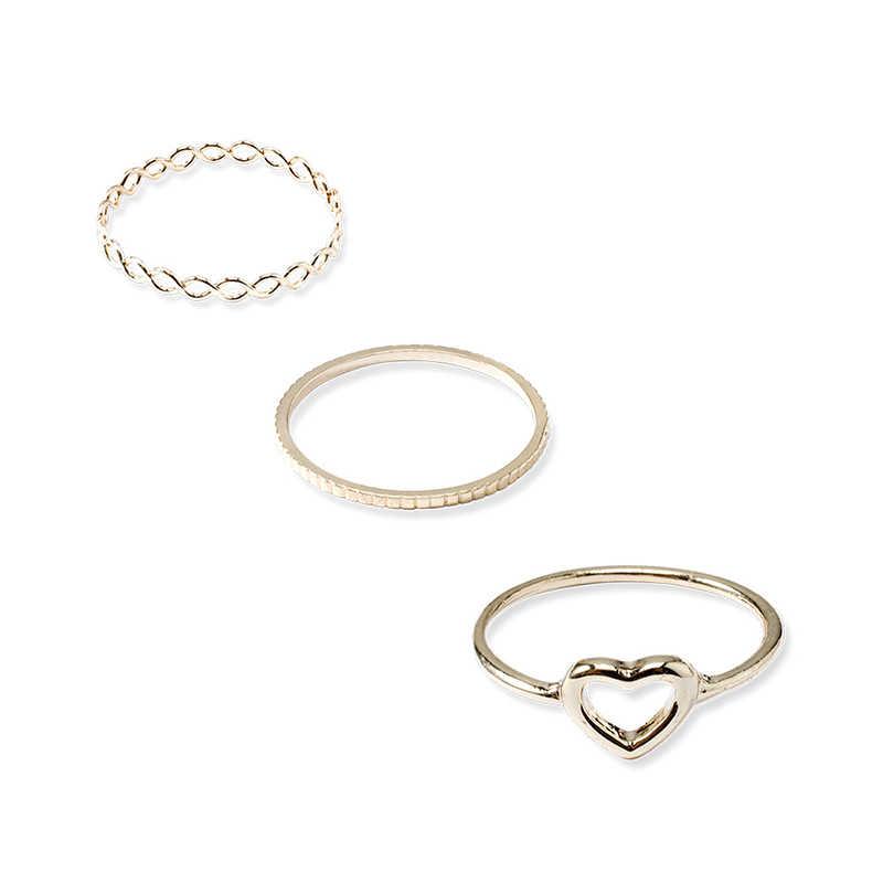 Yobest czeski Vintage złoty półksiężyc geometryczne wspólne pierścień zestaw dla kobiet kryształ osobowość projekt pierścień zestaw Party biżuteria prezent