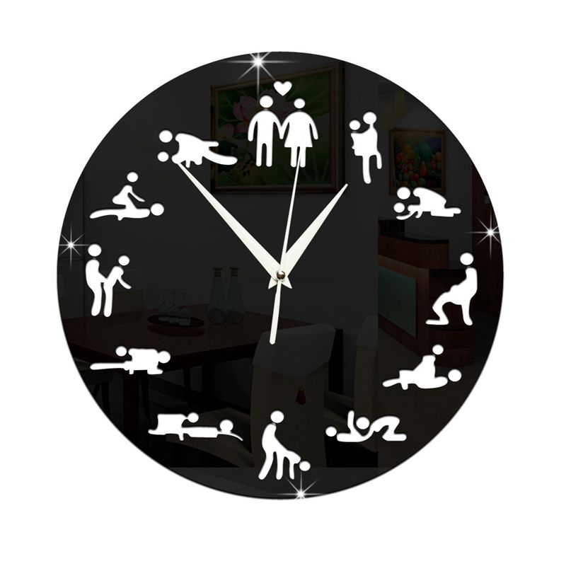 Modern Design <font><b>Sex</b></font> Position Mute <font><b>Wall</b></font> Clock For Bedroom <font><b>Wall</b></font> Decoration Silent Clock <font><b>Watch</b></font> Wedding Gift <font><b>Wall</b></font> Clocks Black image