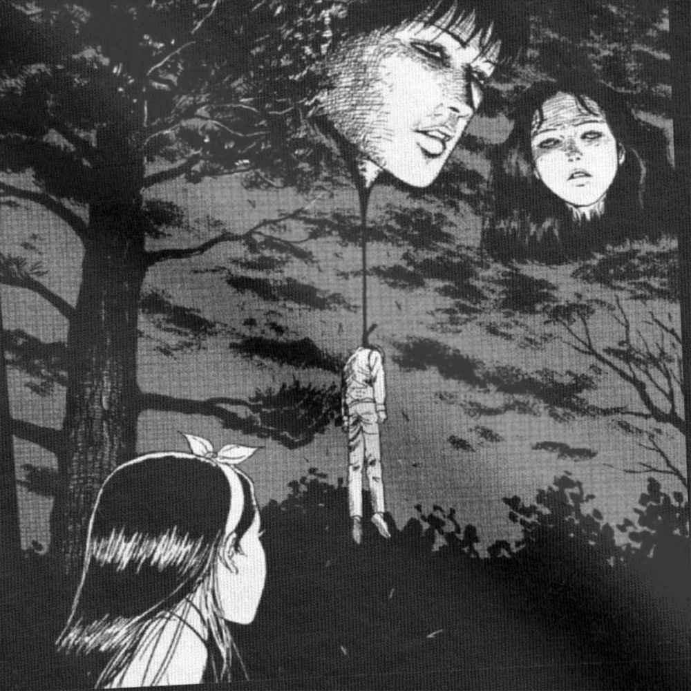 Junji Ito Anime przerażające Manga japonia Horror koszulki mężczyźni projekt koszulka z czystej bawełny koszula T koszula odzież koszula bluza