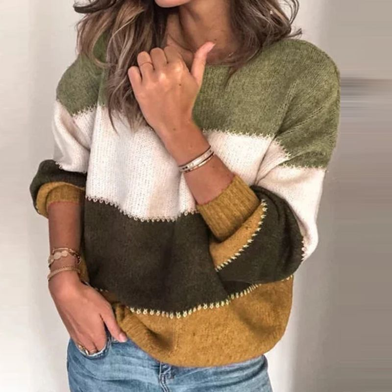 ZANZEA Fashion Women Patchwork O-neck Sweater 2019 Autumn Long Sleeve Striped Sweaters Pullover Jumper Pull Femme Knitted Tops