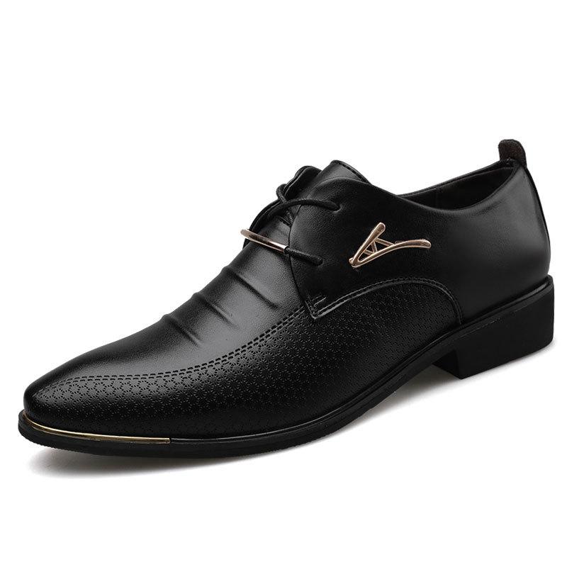 Men\'S Leather Formal Shoes Lace Up Dress Shoes Oxfords Fashion Retro Shoes Elegant Work Footwear Men Dress Shoes 669