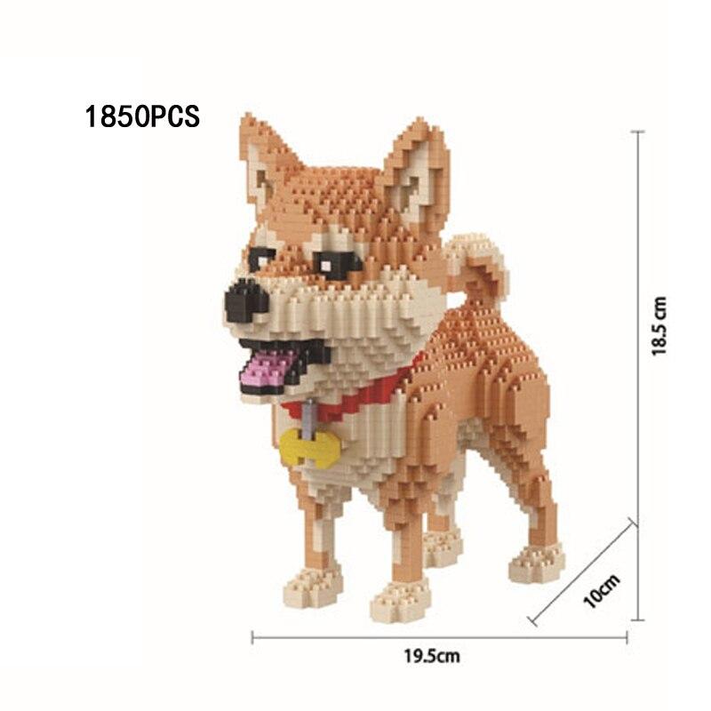 Engraçado adorável animais de estimação cão criador construção tijolos shiba inu montar nanobicks filhote de cachorro micro diamante bloco brinquedos para crianças presentes