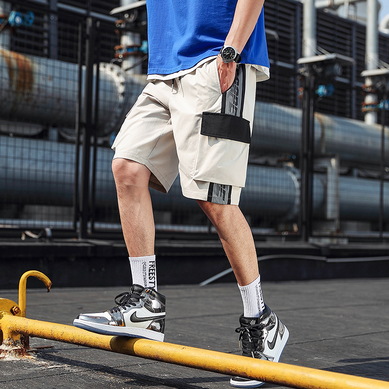 Nice Pop Shorts Men Big Pocket Bermuda Beach Knee-length Shorts Hip Pop Elastic Waistband Mens Summer Streetwear Sweatpants