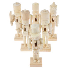 1Pc or 6pcs per pack 12cm Nutcracker Puppet White Embryo Walnut Soldier Shaped Ornaments(China)
