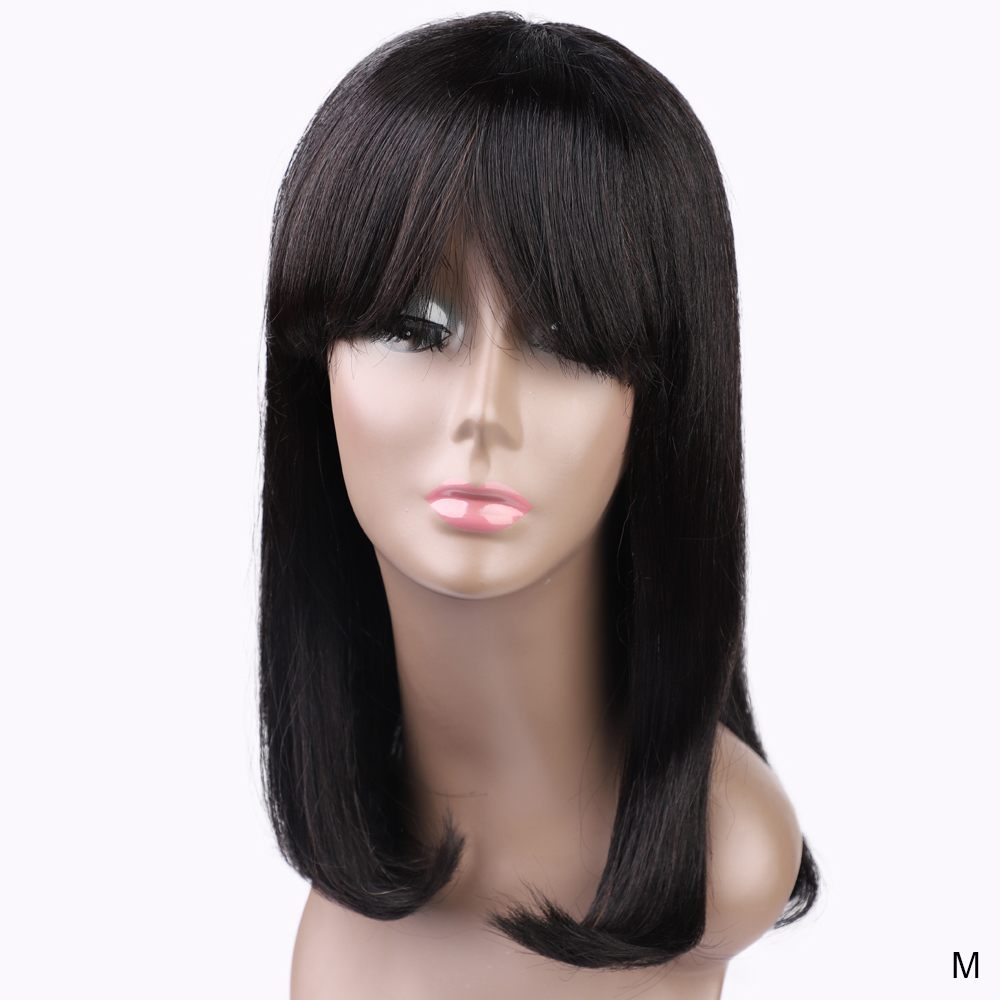 VIOLET Peruvian Straight Short Human Bob Wig 14/16 Inch Non-remy Wig For Black Women Short  Human Wig Natural Color Medium Ratio