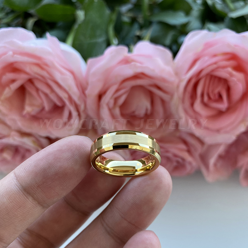6mm 8mm Mens Womens Gold Tungsten Carbide Wedding Band Rings Beveled Edges Polished Matted Finish Comfort Fit Personal Customize 5